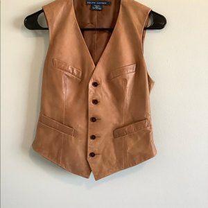 Ralph Lauren Light Brown leather Vest Size 2